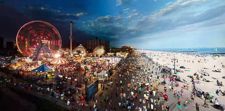 Coney Island- Day & Night in onePhotographers, Photos, New York Cities, Coneyisland, Night Photography, Stephen Wilkes, Night Time, Newyork, Coney Islands