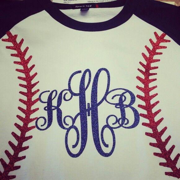 Glitter vinyl Monogram baseball/softball shirt. | Cricut ...