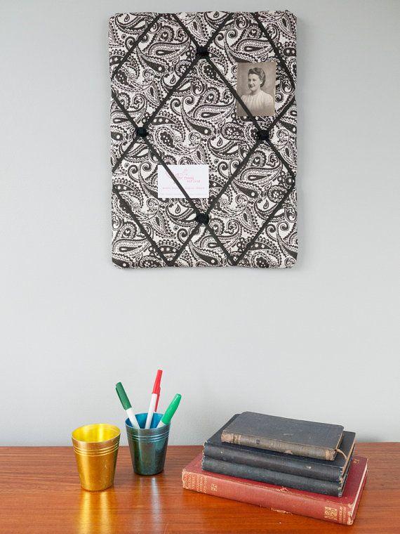 Handmade silver and black paisley fabric memo by freshdarling