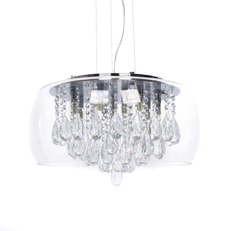 Lampa sufitowa TOSSO kryształki 9x40W wisząca Lumina Deco LDP 8066-500 CLEAR
