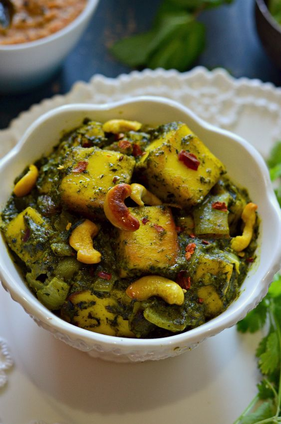 Paneer Pudina :: Paneer with mint and spinach :: Cottage cheese in Mint gravy – The Veggie Indian