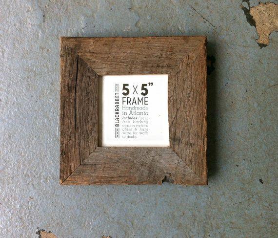 Natural Reclaimed Oak Picture Frame 5x5 by BlackRabbet on Etsy, $20.00