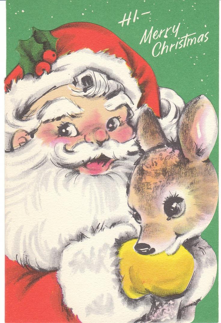 Christmas letter g with santa claus cap stock photo 169 vladvitek - Santa Claus And Reindeer Vintage Christmas Card