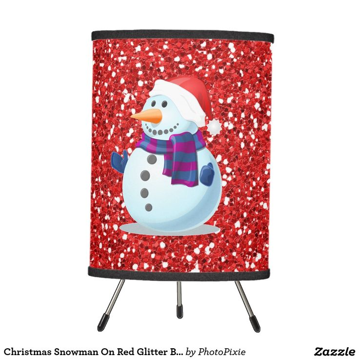 Christmas Snowman On Faux Red Glitter Background