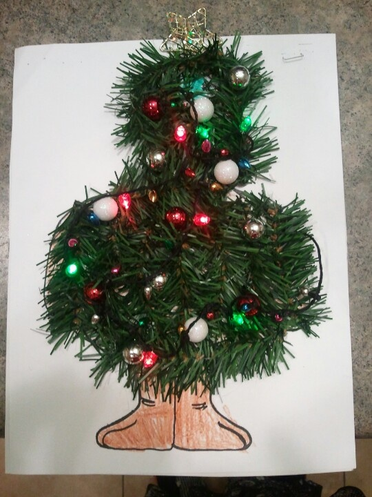 The finished product...we disguised Tom Turkey as a Christmas tree so he couldn't be cooked for dinner!!!
