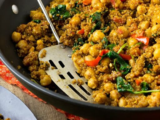 Indian Quinoa and Chickpea Stir Fry Recipe on Yummly. @yummly #recipe   I added 2cups of coconut milk and for a different variety of protein added 2 chicken breasts then only added 1 can of chickpeas. Tastes great!!!