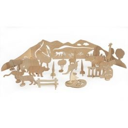 ZOO - creative play. Toy for self-decoration, consists of a scene, 20pcs of  moving figures on the holders, 8pcs of poster paints and brush. The whole packed in a cardboard box of dimensions: 40x50x4cm. Made by Neo-Spiro.