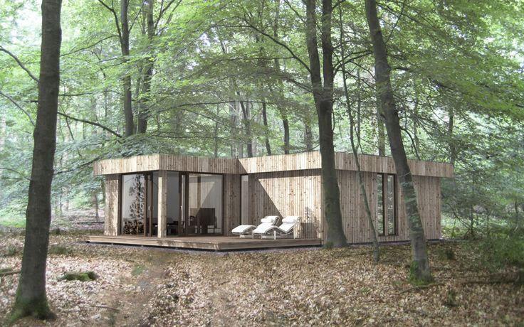 Maison pr fabriqu e contemporaine ossature bois cologique ek 022 ekokoncept wooden for Maison prefabriquee bois