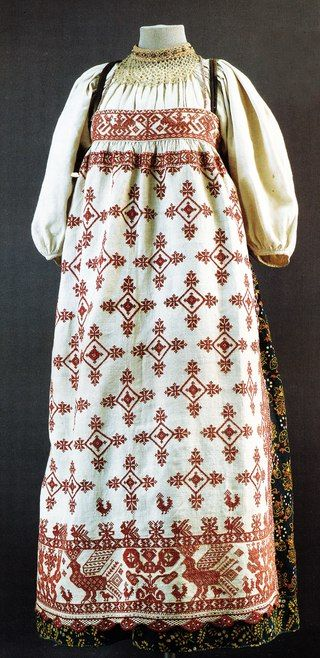Праздничная одежда. Вологодская губерния. Вторая половина XIX в. Шитье крестом