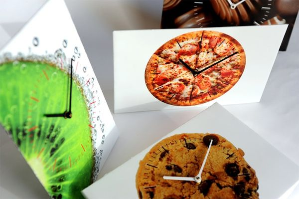I need a clock with a pizza on it! Cardboard, Pizza, Powdercoat: AboutFaceClock