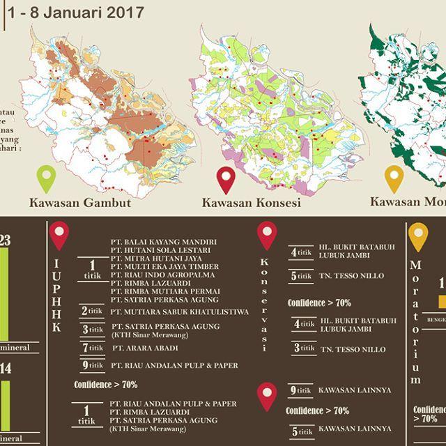 @jikalahari mencatat sebaran hotspot yang ada di Riau pada minggu pertama Januari 2017, 8 - 15 Januari mencapai 46 titik panas. Data ini diperoleh dari satelit Terra-Aqua Modis dengan melihat sebaran hotspot pada daerah konsesi IUPHHK, HGU dan Konservasi. Selain itu Jikalahari juga memetakan bahwa hotspot-hotspot tersebut ada yang muncul di kawasan gambut dan mineral. Jikalahari juga melihat adanya titik panas diareal moratorium.  ____________ @jikalahari noted the distribution of hotspots…