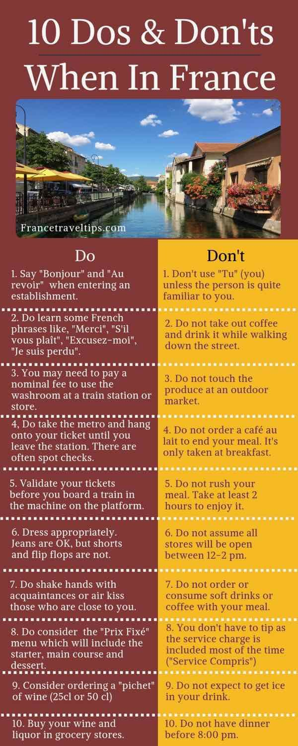 10 Dos And Don Ts When In France France Travel Europe Travel International Travel Tips