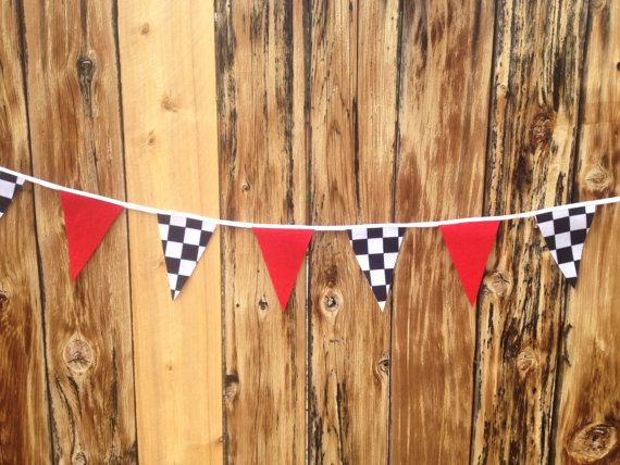 Race Car Birthday Banner, Felt Checkered Flag Banner, Race Car Party Decor, Race Car Baby Shower Bunting on Etsy, $33.00