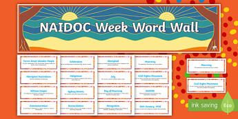 NAIDOC Week Definitions Word Wall - Australia, History, Aboriginal, Indigenous, meaning, display,Australia