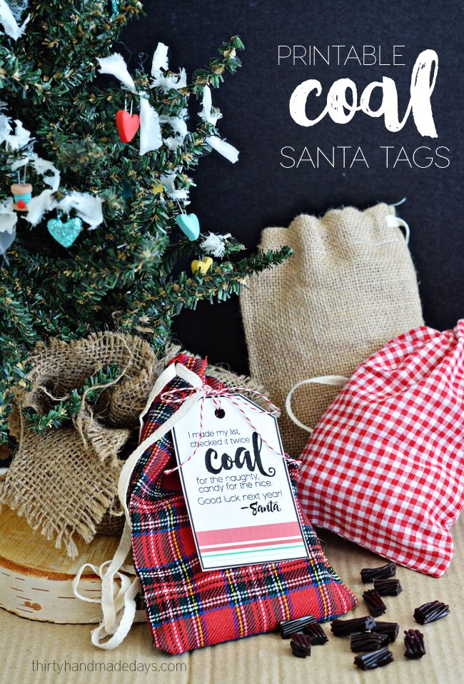 Printable Coal Santa Tags - cute with adorable plaid fabric bags. Make these for a gift or for fun for Christmas! www.thirtyhandmadedays.com