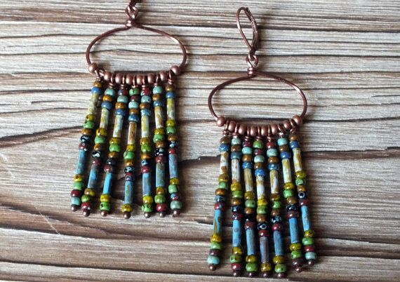 Czech Picasso Seed Bead and Copper Hoop Earrings by ABitOfNature