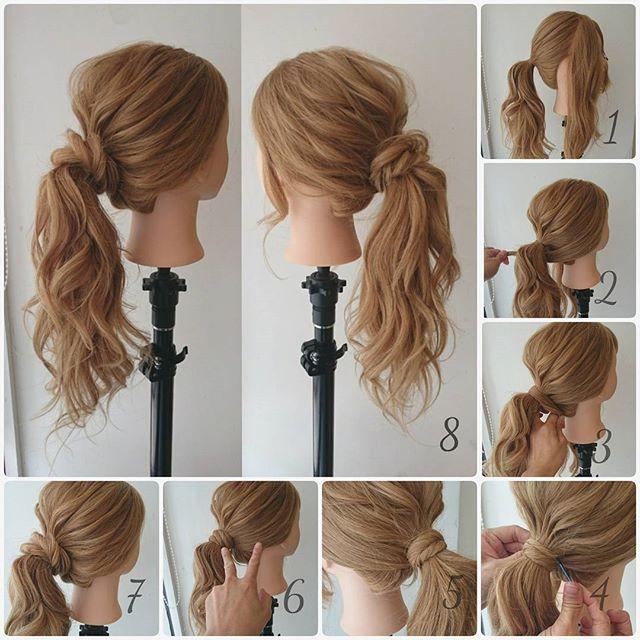 1ランク上の大人のポニーテール  1.  耳から前を残して、後ろの髪を1つに結ぶ。  2.  残したサイドの髪を、後ろで結んだ髪の下側から巻きつける。  3.  巻きつけるときに毛束をねじる。  4.  いけるとこまで巻き付けてピンで留める。  5.  逆サイドも同じようにする。  6.  巻き付けた毛とトップとサイドの毛をほぐす。  7.  ほぐしました。  8.完成。  #hair#hairarrange#hairset#hairstyle#ヘアカタログ#カワイイ#ヘアアレンジ#ヘアセット#アップスタイル#愛媛#松山市#updo#matuyama#lycka#簡単アレンジ#美容#cute#beauty#結婚式ヘアー#二次会ヘアー#ウェディングヘアー#ヘアアレンジプロセス#ポニーテール#大人のポニーテール#ヘアアレンジやり方