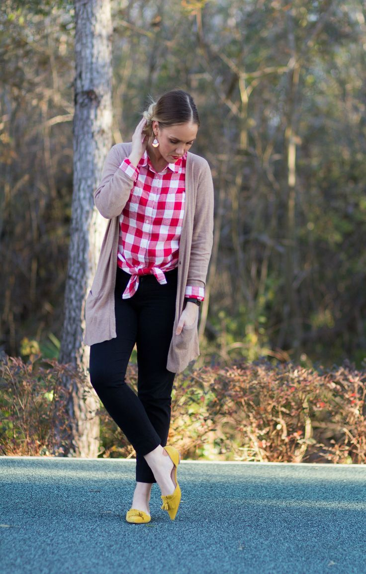 Red Gingham & Mustard Flats | Preppy Outfit | Teacher Outfit