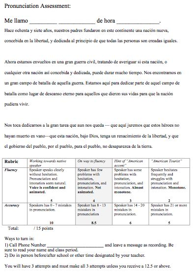 Pronunciation Assessment and Rubric for Spanish class.