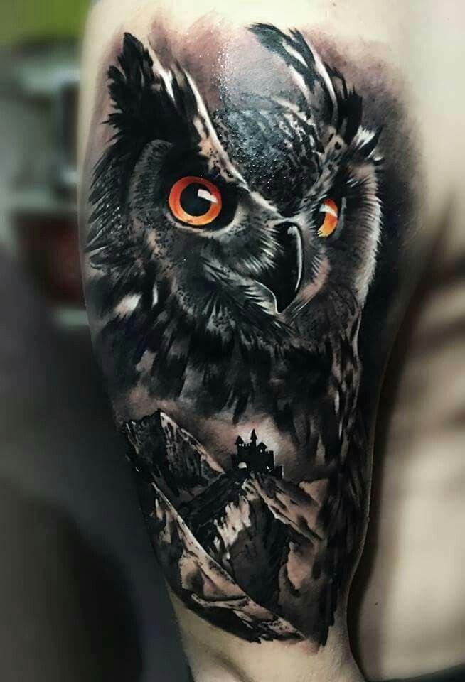 Αποτέλεσμα εικόνας για realistic owl tattoos