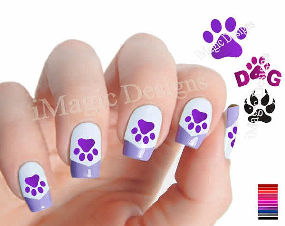 Waterslide Nail Art Decals, Nail Stickers, Dog Paw Prints on Etsy, $2.65