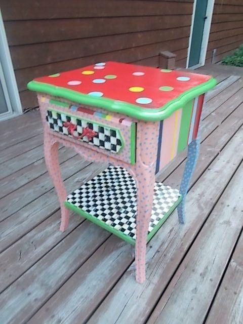 Hand Painted Mackenzie Childs Inspired Nightstand In Playhouse Motif  Brights | EBay