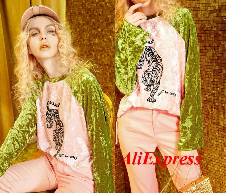 ELF SACK 2017 Spring Women Color Blocking Long Sleeve Velvet Shirts Round Neck Tiger Printed Patchwork Casual Pullovers Tops