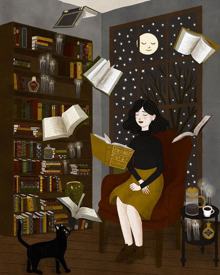 Moi qui lit, girl, witch, fluying books, moon, stars, night, cat, mystic