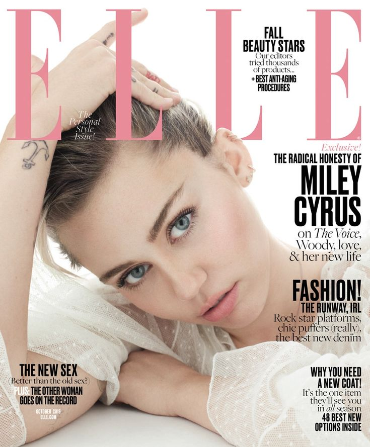Miley Cyrus pose on ELLE Magazine October 2016 Cover