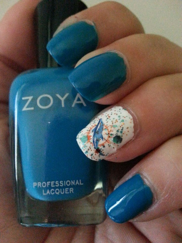 25 best miami dolphins nail design images on pinterest art ideas my miami dolphins nails zoya talia nail stickers from etsy glitterfied kickoff glitter prinsesfo Images