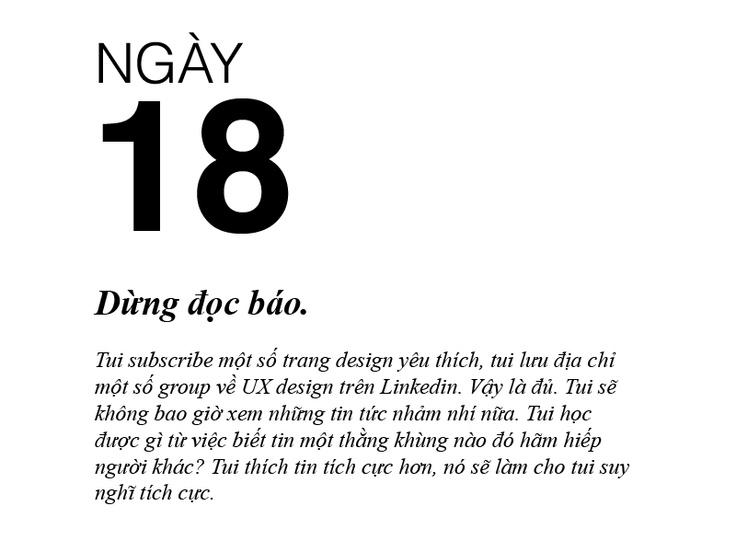 99 ngày thay đổi cuộc đời (tui) - Ngày 18: Dừng đọc báo.