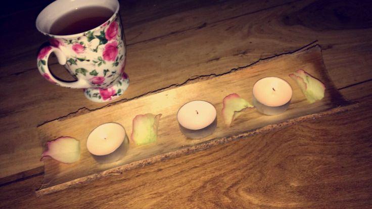 Holzrinde Teelicht Rosenblätter 🌹