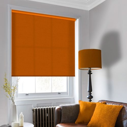 An Orange roller blind that is made to measure