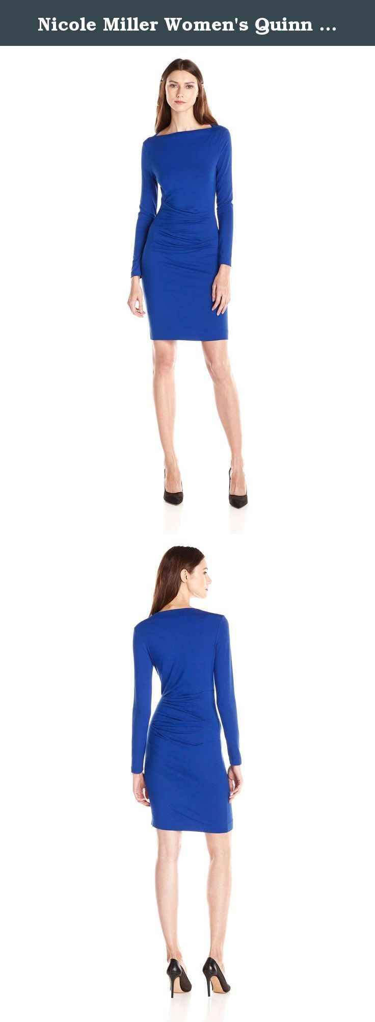 Nicole Miller Women's Quinn Solid Jersey Long Sleeve Tuck Dress, Cobalt, Petite. This dress features a boat neckline with middle ruching. The long sleeves makes this dress perfect for a chilly evening out.