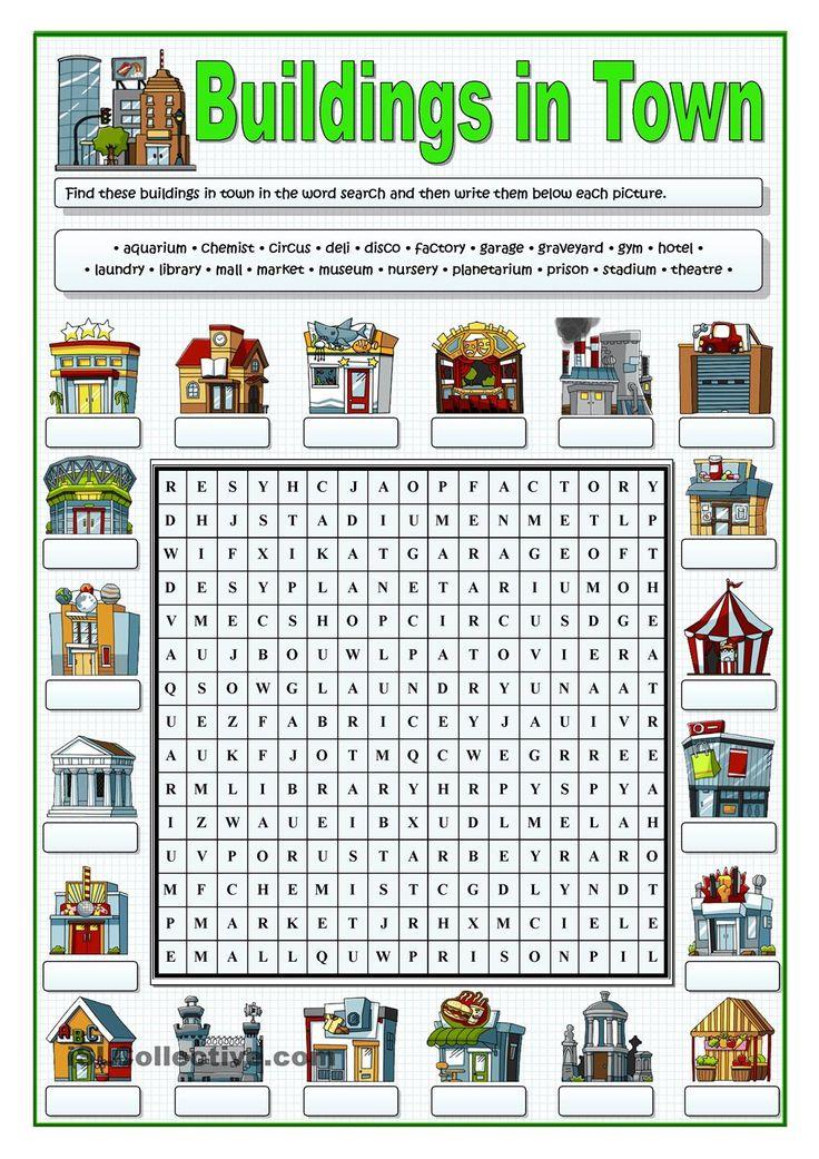 BUILDINGS IN TOWN - WORDSEARCH
