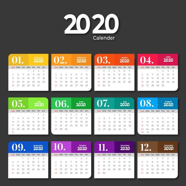 2020 Calendar Template Design With Solid Colors 2020 Calendar