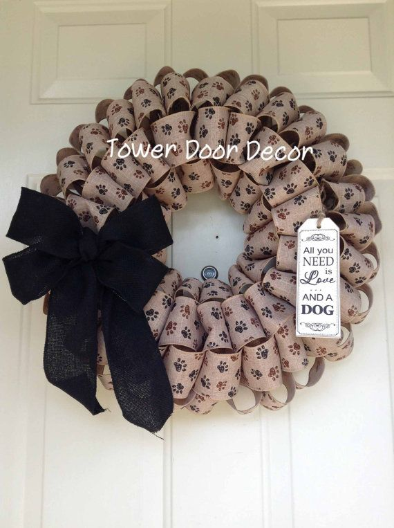 Paw Print Burlap Wreath, All you need is love and a dog by TowerDoorDecor, $40.00