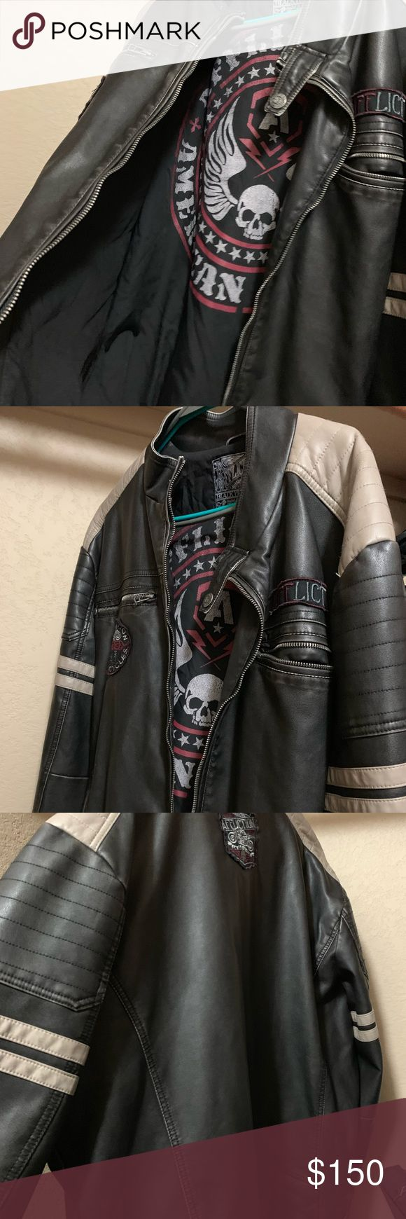 Affliction leather biker jacket Leather biker jacket