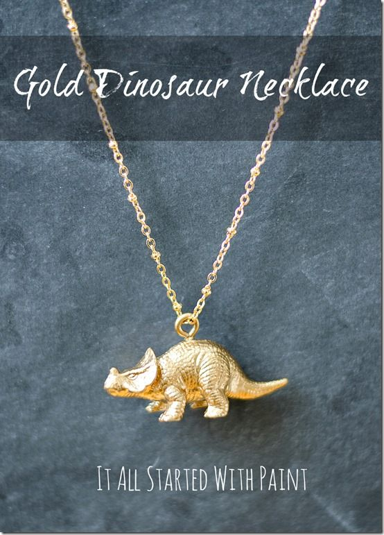 DIY Gold Dinosaur Necklaces that you make out of the dollar store plastic dinosaurs. Way cute!