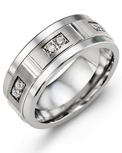Duo Diamond Wedding Band  One of the most popular wedding rings in our diamond collection, this Tungsten ring, Cobalt ring, or Ceramic ring for Men with Brilliant Cut Diamonds is a sophisticated piece of jewelry that you can enjoy wearing every day.  Designed to complement both casual and professional attire, it features a high polished alternative metal band with a brushed gold insert with groove detailing, and three sets of brilliant cut diamonds across the front of ring.