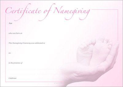 Naming Certificate - Two Feet Pink design.