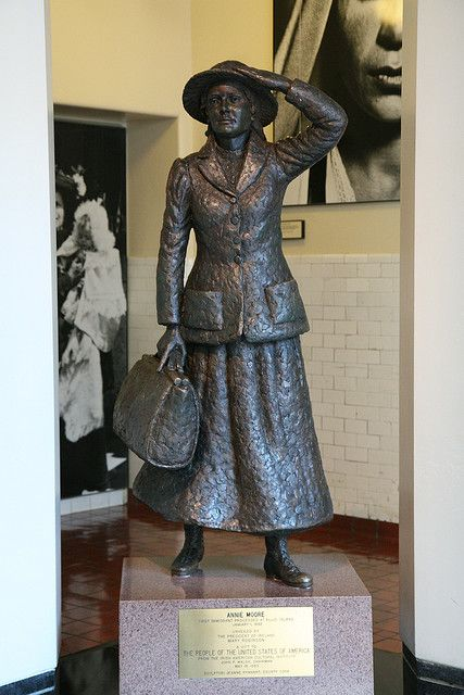 Statue of Annie Moore, the first immigrant to pass through Ellis Island.