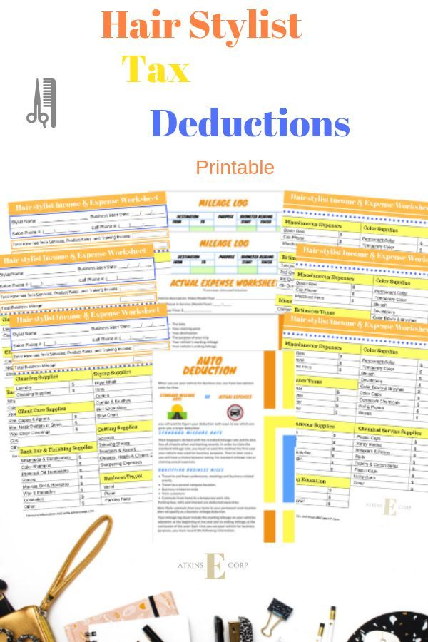 hair stylist income and expense ultimate bundle tax deduction list