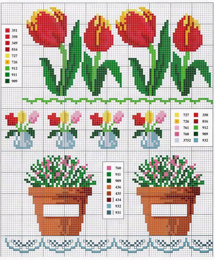 Enxoval Ponto Cruz by Núbia Cortinhas: gráfico em ponto cruz floral