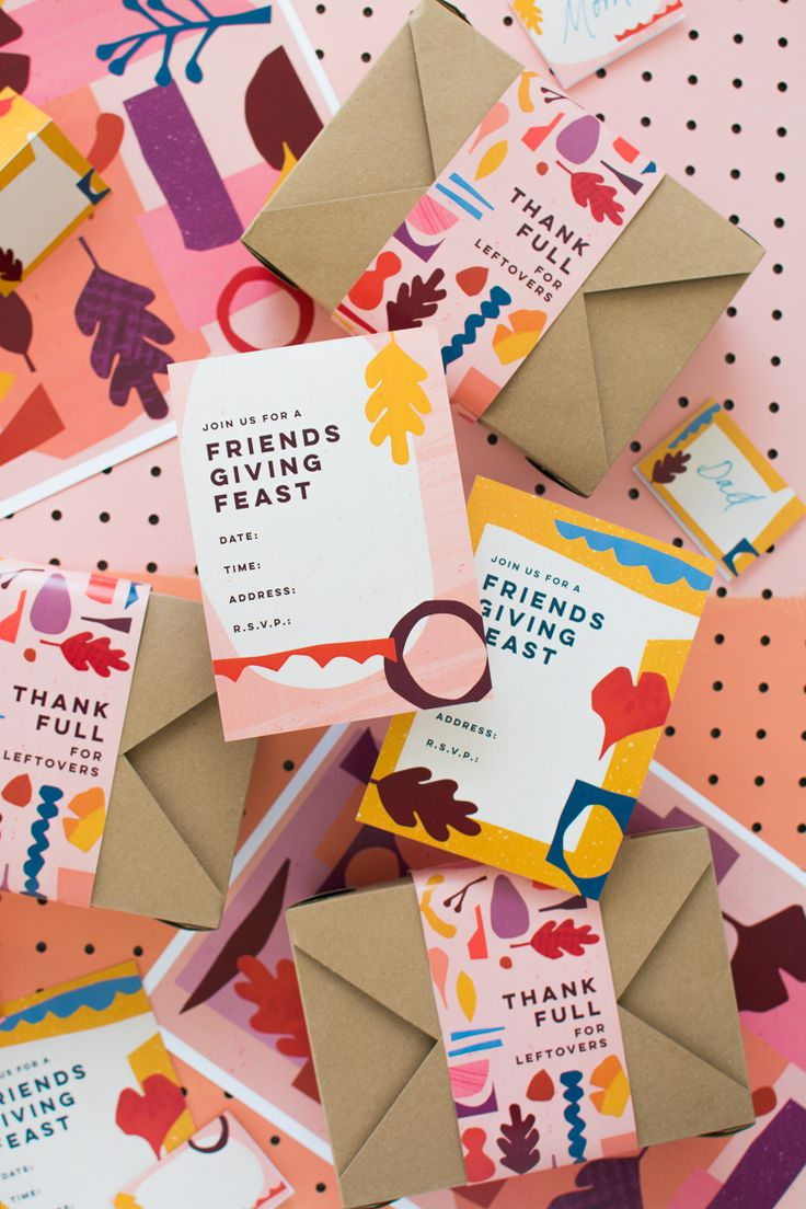 Friendsgiving Printables. I like the kraft envelopes with a sleeve. This would make a cute packaging concept.