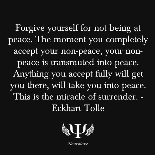 No need to lie to yourself by saying that you're at peace if you're not. Maybe it's a signal that something's not right.