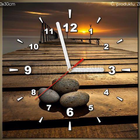 Tlačený obraz s hodinami Nádherné ráno pri móle ZP2414A_1AI