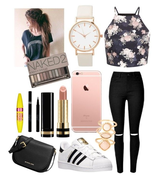 """"""""""" by talia-123 on Polyvore featuring adidas, Gucci, MICHAEL Michael Kors, Monsoon, Maybelline, Urban Decay and Sisley"""
