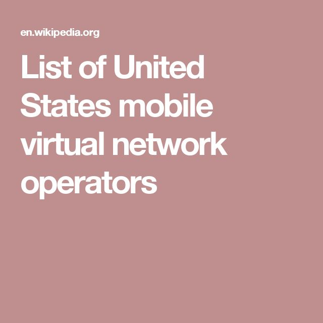List of United States mobile virtual network operators