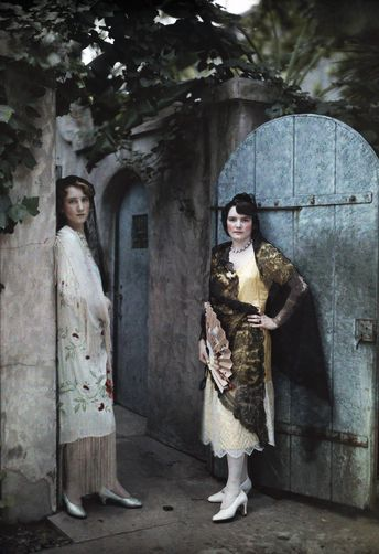Two Creole women standing in the doorway to their Uptown home, New Orleans, 1920/30s